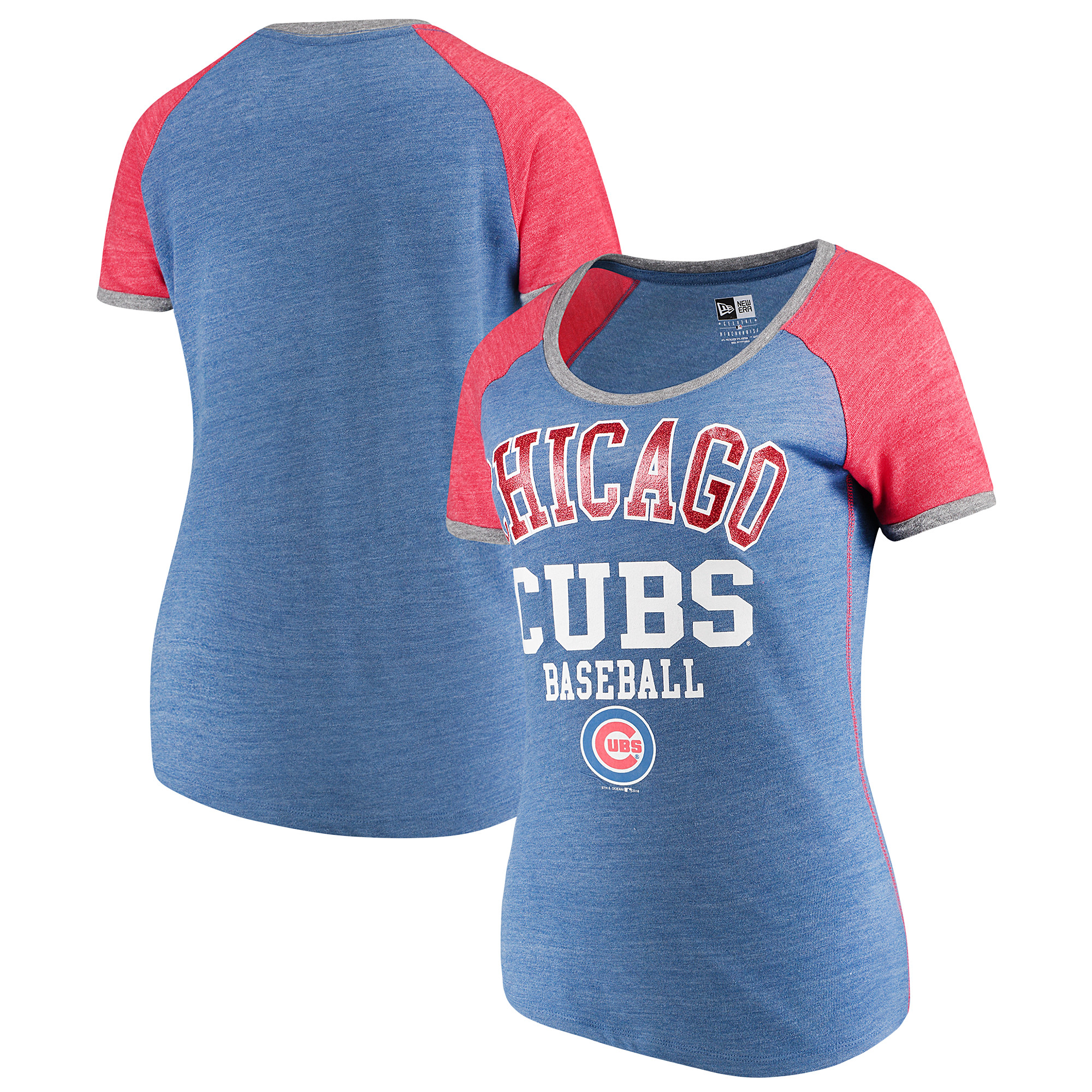 Chicago Cubs 5th & Ocean by New Era Women's Jersey Tri-Blend Raglan T-Shirt - Royal