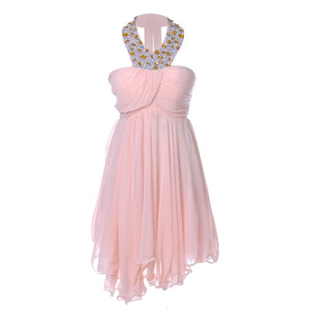 S/M Fit A Pink Affair Chiffon Uneven Hem Bead Embellished Halter Dress