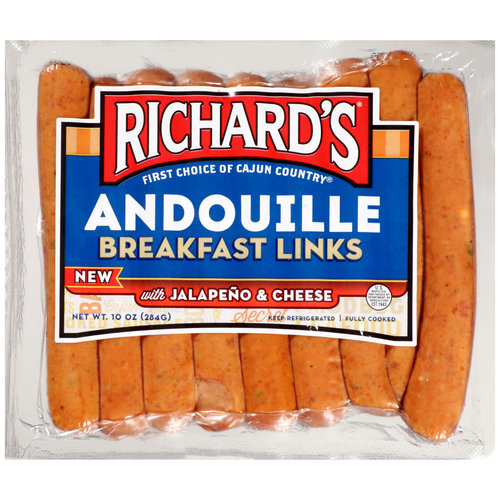 Richard's Andouille Breakfast Links with Jalapeno & Cheese, 10 oz