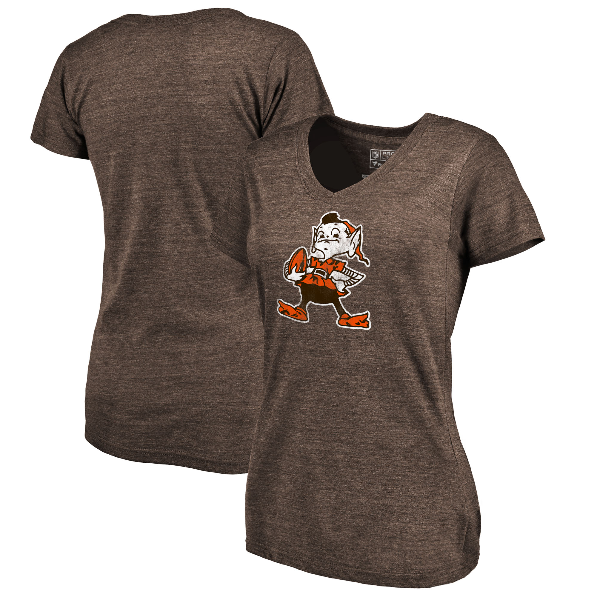 Cleveland Browns Fanatics Branded Women's Throwback Logo Tri-Blend V-Neck T-Shirt - Brown