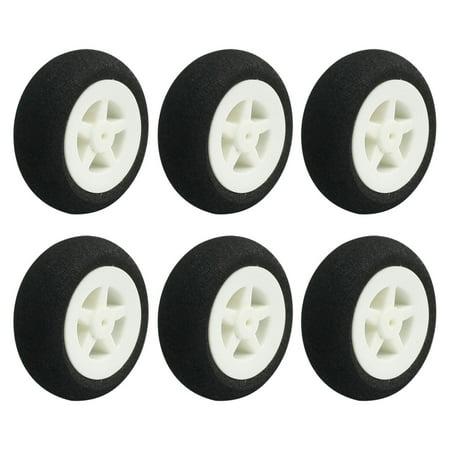 """Unique Bargains 6pcs RC Electric Airplane Plastic Hub Landing Sponge Tire Wheel 30mm 1.2"""""""
