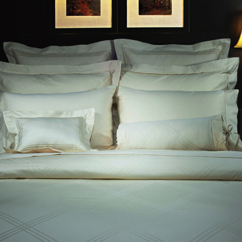 Highland Feather Champagne Diamond Jacquard Bedding Collection