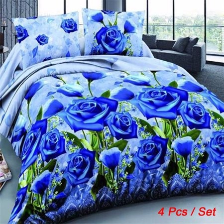 Ginger Bed Cover - 4Pcs Printed 3D Bedding Set Queen Size Quilt Cover Bed Sheet Pillowcases Textile