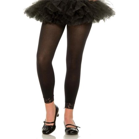 - Music Legs 275-BLACK-M Girls Opaque Leggings with Lace Trim, Black - Medium