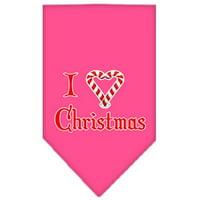 Heart Christmas Screen Print Bandana Bright Pink Small
