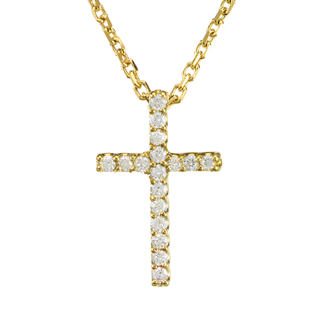 .085 cttw Diamond Cross Necklace in 14k Yellow Gold by Black Bow Jewelry Company