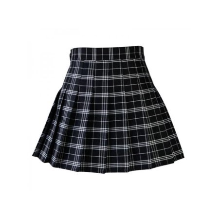 Topum Women Girls Summer Tennis High Waist Plaid Skirt College Style Casual Mini Skirt