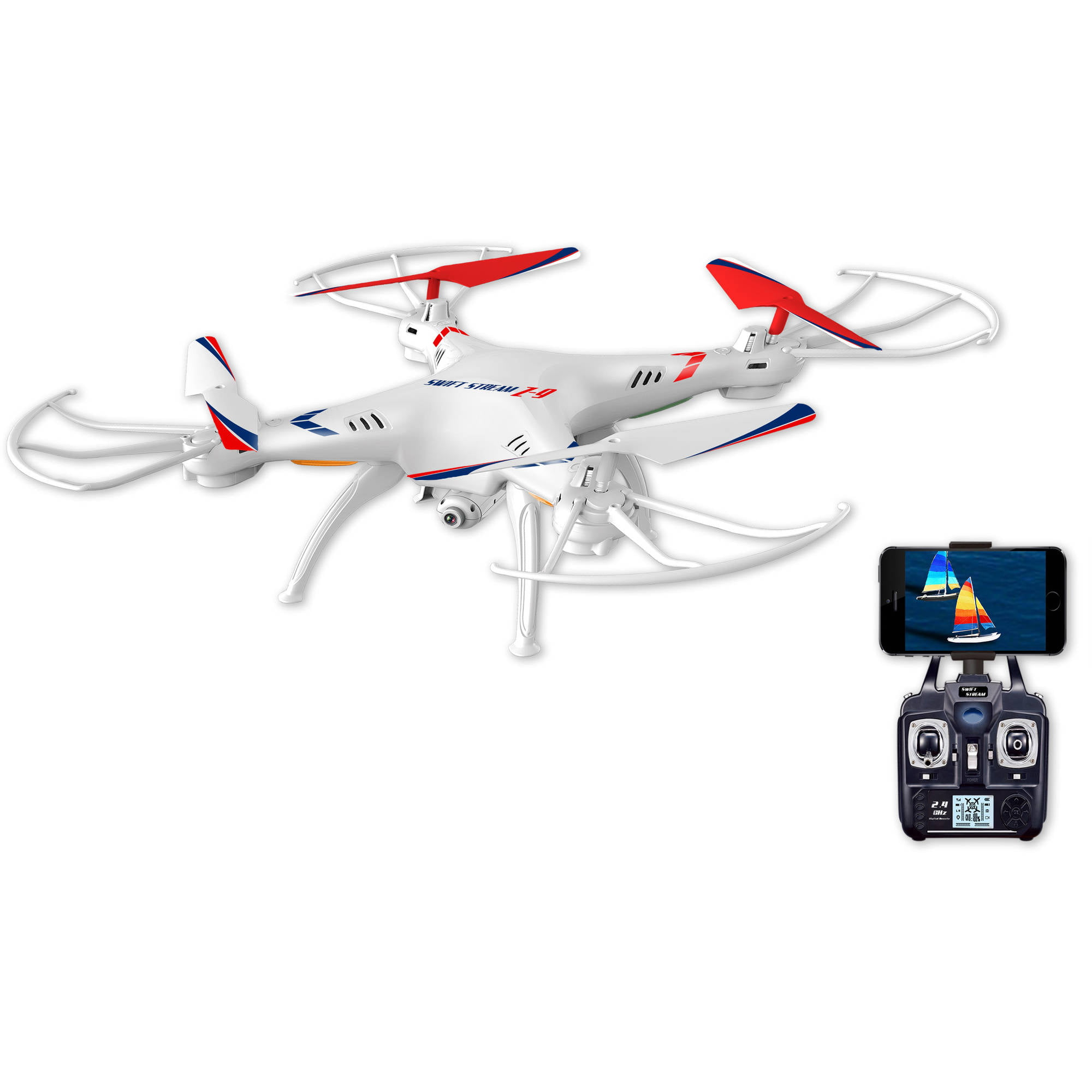 "Swift Stream Z-9 Remote Control 12"" Camera Drone, White by Abrim Enterprises, Inc."