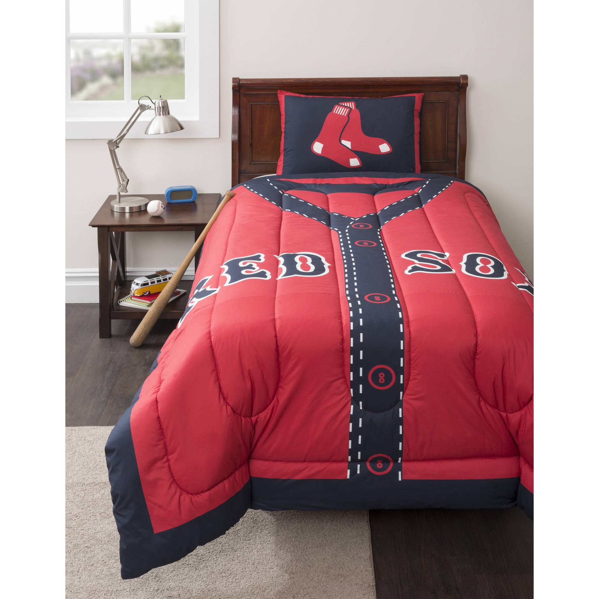 mlb boston red sox twin bedding comforter set - walmart