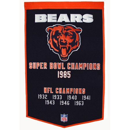 Super Bowl Dynasty Banner - Chicago Bears Official NFL 24 inch x 36 inch  Dynasty Wool Banner Flag by Winning Streak