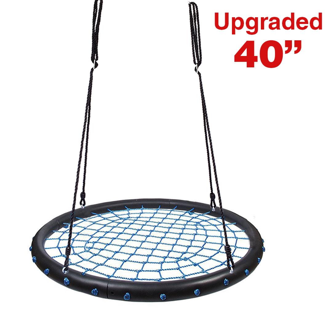 "Clevr 40"" Blue/Black Outdoor Kids Children Round Tire Web Tree Net Swing 600lbs"