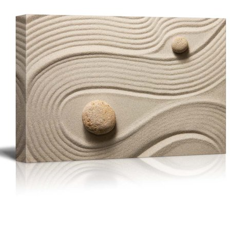 wall26 - Two Stones in a Japanese Rock Garden from Above with a raked snaking Design - Canvas Art Home Decor - 12x18 inches ()