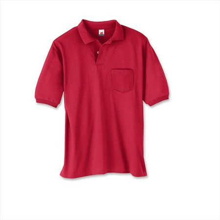 Hanes 504 Cotton-Blend Jersey Mens Polo With Pocket Size 3 Extra Large, Deep Red - image 1 de 1