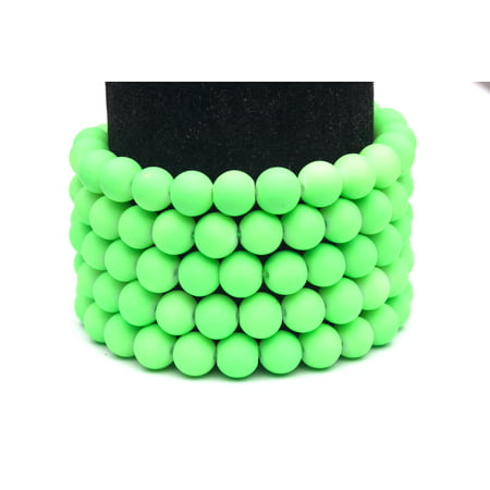 Frosted Glass Beads Neon Green Rubber-Tone Beads 10mm Round Sold Per Pkg of 2x32Inch (180 Beads)