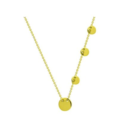 Fronay 551170G 16 in. Engravable Sliding Gold Discs Necklace in Sterling Silver - image 1 de 1