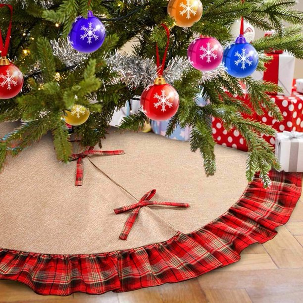 Christmas Tree Skirt Red Buffalo Plaid Rustic Farmhouse Christmas Decoration Red Buffalo Plaid Ruffle Walmart Com Walmart Com