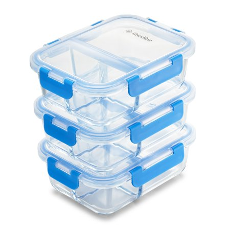Leoney Glass Meal Prep Containers 3 Compartment - Airtight Food Storage Container Set with Hinged Locking Lids BPA Free (3-Pack 32 Oz.) 3 Compartment Hinged Lid