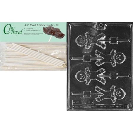 Cybrtrayd 45St50-H012 Cute Scarecrow Lolly Halloween Chocolate Candy Mold with 50 4.5-Inch Lollipop Sticks - Cute Scarecrow