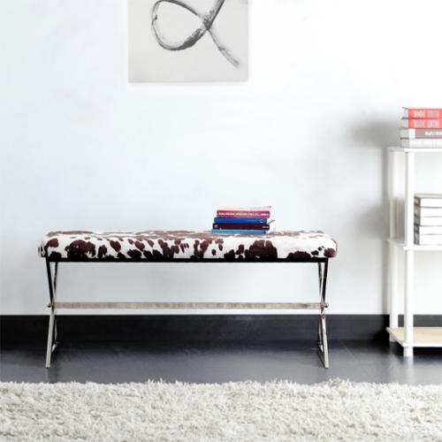 Inspire Q Southport Cowhide Print 40 Inch Metal Bench By Bold