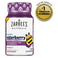 Zarbee's Naturals Children's Elderberry Immune Support* Gummies, With Vitamin C, Zinc and Real Elderberry, Natural Berry Flavor, 21 Gummies (1 Bottle)