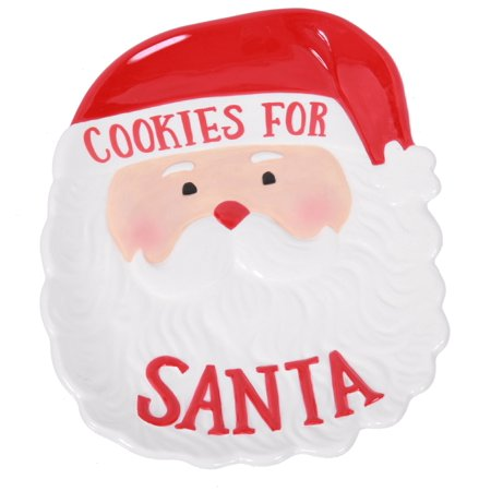Santa Face Cookie Plate Cookies for Santa Ceramic (Personalized Cookies For Santa Plate)