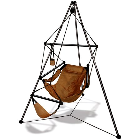 Hammaka Tripod Aluminum Hanging Chair Stand The Hammaka Tripod Hanging Aluminum Hammock Chair Stand comes with a storage bag. It has retractable telescoping legs that lock into place for stability. The hanging hammock chair stand is simple to set up and has a 350-lb weight capacity.