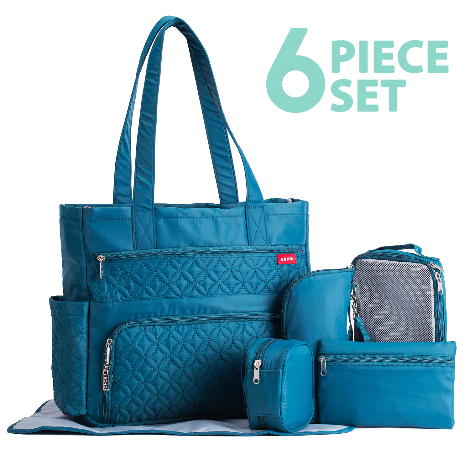 SoHo Collection, Williamsburg 6 pieces Diaper Tote Bag set * Limited Tme Offer! * (Cambridge Teal)