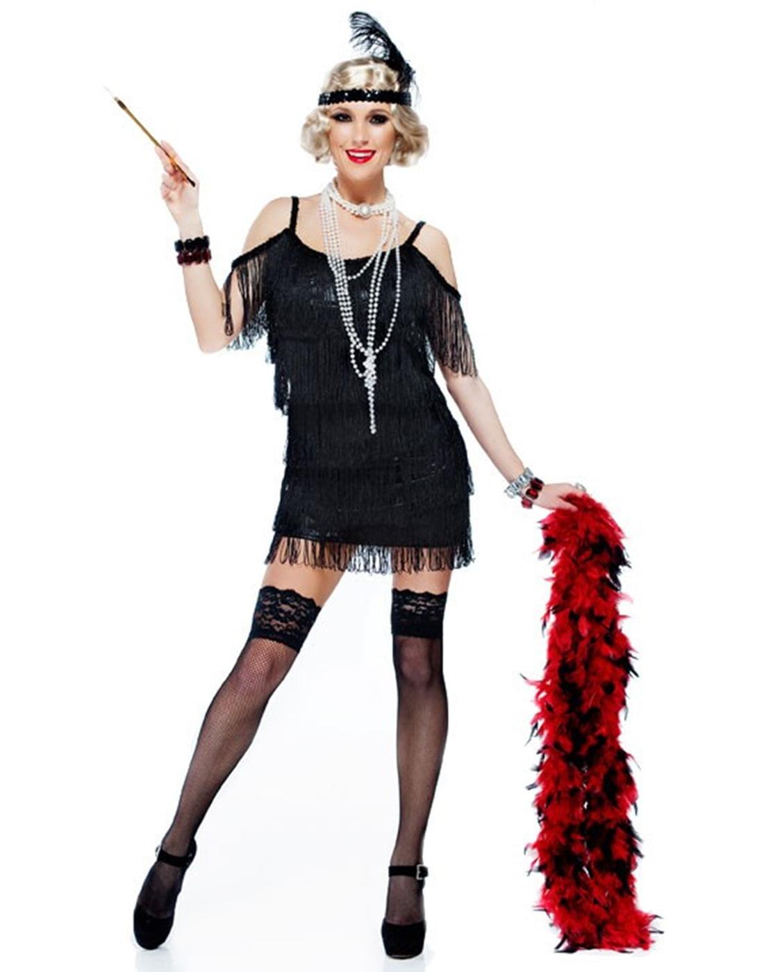 Black Tassel Manhattan 1920S Adult Plus Size Flapper Dress ...