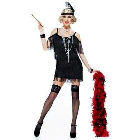 Black Tassel Manhattan 1920S Adult Plus Size Flapper Dress Costume - 1920s Apparel