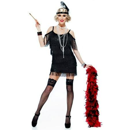 Flapper Dress Size 22 (Black Tassel Manhattan 1920S Adult Plus Size Flapper Dress)