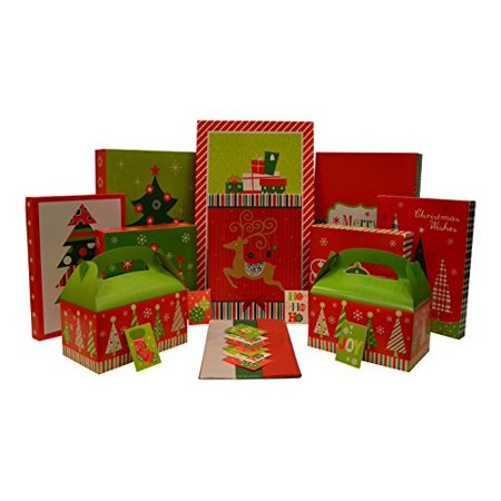 Christmas Gift Box Set - Kit Contains Gift Boxes, Gift Tags, Tissue Paper - Everything Needed To Wrap Presents (36 Piece Set) - Christmas Gift Box