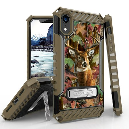 Beyond Cell Tri-Shield Series Compatible with iPhone XR - Military Grade Drop Tested (MIL-STD 810G-516.6) Kickstand Shockproof Case for Apple iPhone XR - Camo Deer