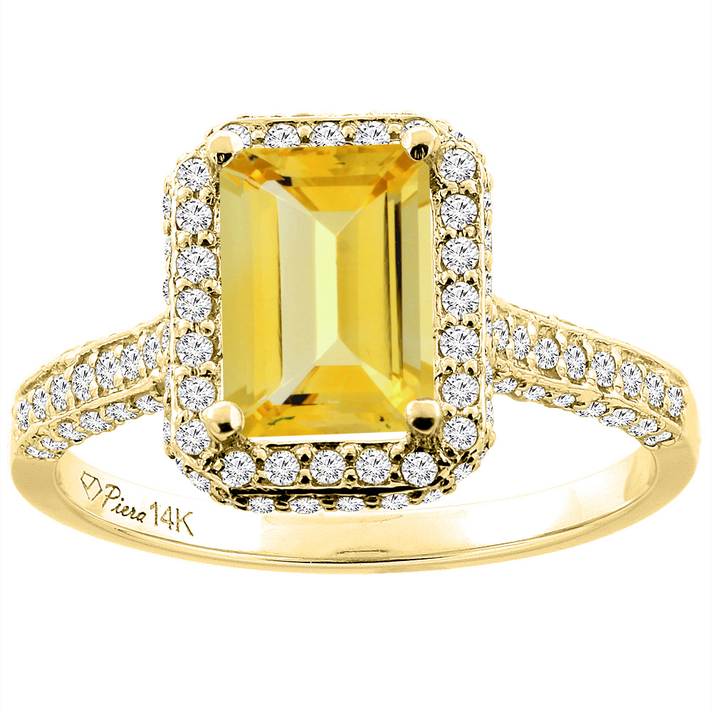 14K Yellow Gold Natural Citrine Engagement Ring Octagon 8x6 mm, size 5 by Gabriella Gold