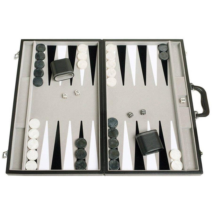 "21"" Tournament Backgammon Set, Inlaid Velvet Field, Black Grey by"