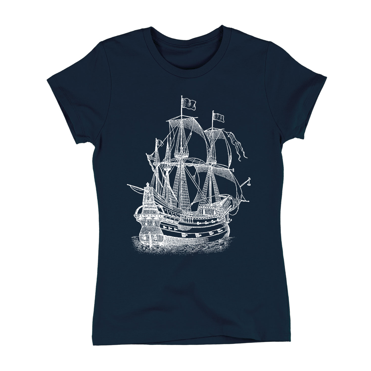Pirate Ship Engraving-Adult LADIES SHORT SLEEVE TEE