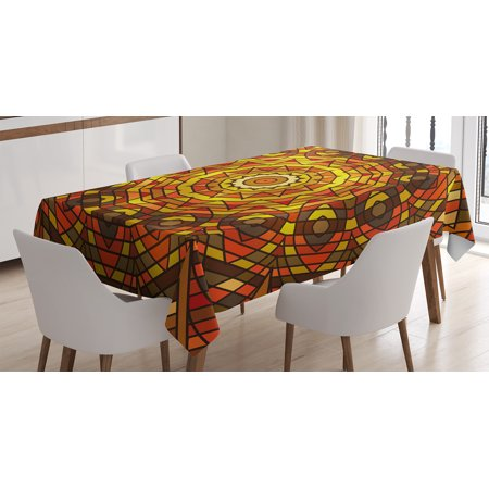 Celtic Decor Tablecloth, Circular Round Celtic with Spiral Turning Lines in Contrast Victorian Decor, Rectangular Table Cover for Dining Room Kitchen, 60 X 90 Inches, Red Yellow, by