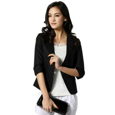Nicesee Women Girl Casual Short Blazer Coat 3/4 Sleeve Slim Suit (Exclusive Blazer)