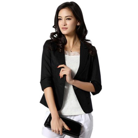 Girls White Blazer (Nicesee Women Girl Casual Short Blazer Coat 3/4 Sleeve Slim Suit)