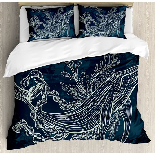 Ambesonne Silhouette of Whale in Doodle Style with Reef and Seaweeds Print Slate and Petrol Duvet Set