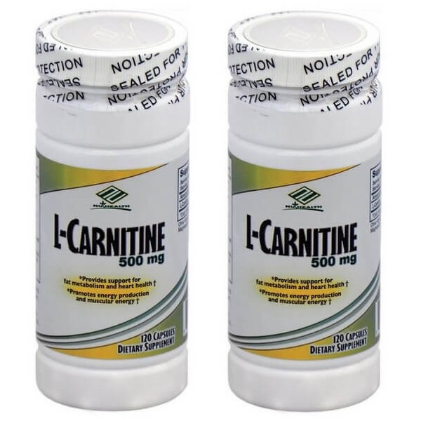 2 Bottles Nu-Health L-Carnitine 500 MG (120 Capsules)