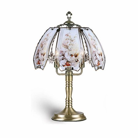 """23.5"""" Tall Metal Touch Table Lamp, Brushed Gold finish, Hummingbird-Patterned Glass Shade"""