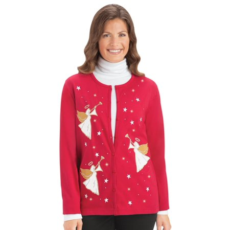- Women's Holiday Embellished Angel Knit Cardigan, Xx-Large, Red