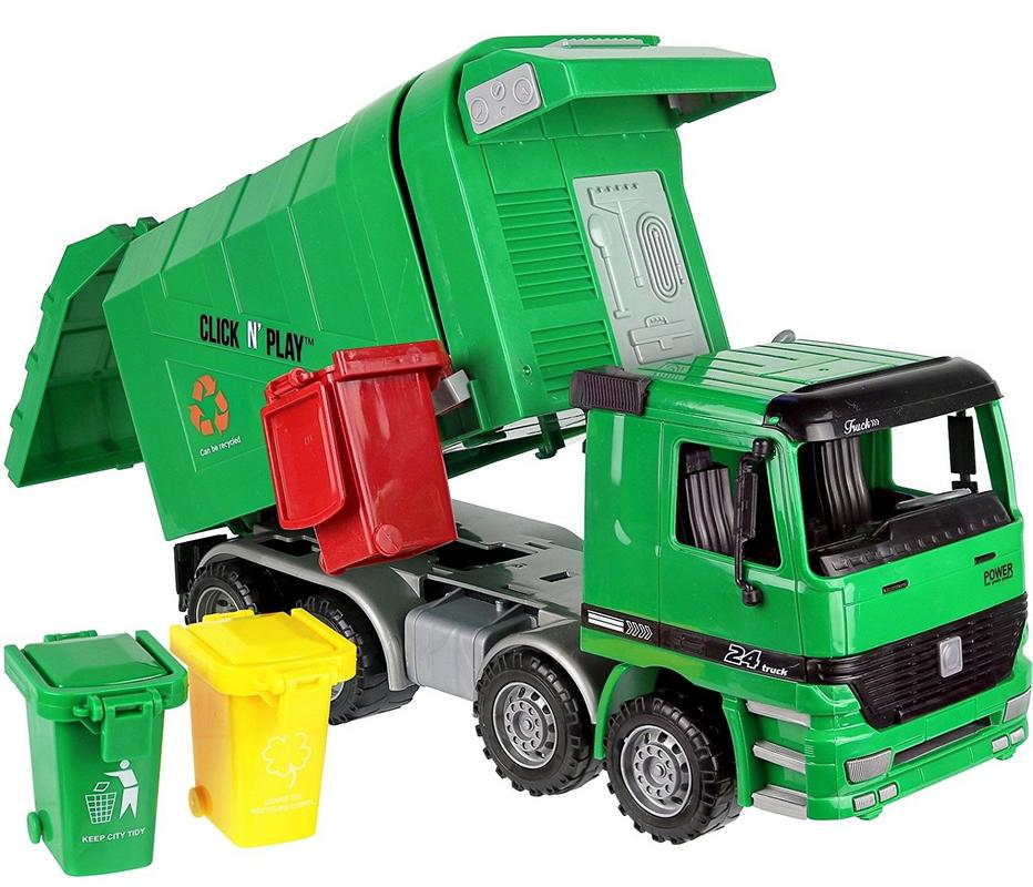 Click n' Play Friction Powered Garbage Truck Toy with Garbage Cans by Click N' Play