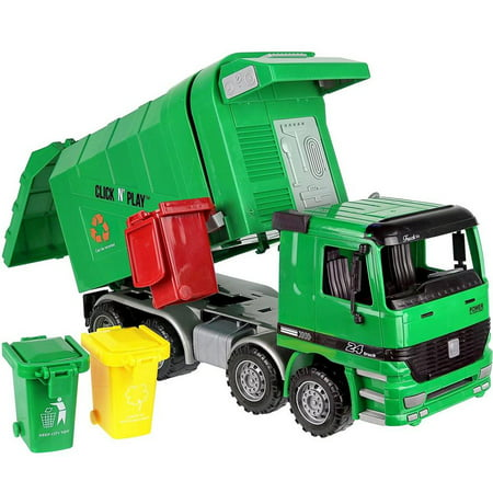 - Click n' Play Friction Powered Garbage Truck Toy with Garbage Cans