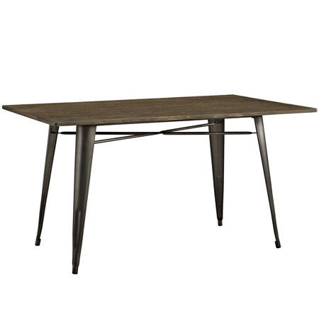 Modern Contemporary Urban Design Industrial Antique Vintage Style Kitchen Room Rectangle Dining Table, Brown, Metal Wood ()