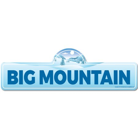 Big Mountain Street Sign | Indoor/Outdoor | Skiing, Skier, Snowboarder, Décor for Ski Lodge, Cabin, Mountian House | SignMission personalized