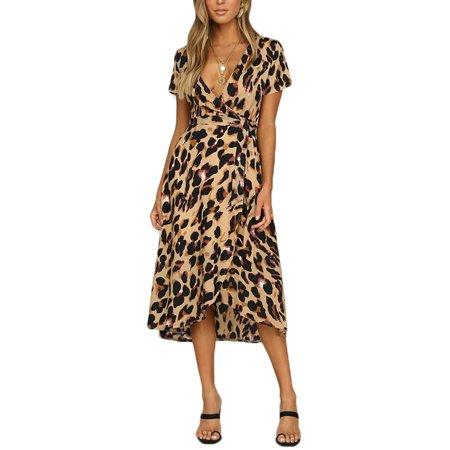 Adult Luscious Leopard (Women Sexy Leopard Print Dress High Waist Deep V Party Short Sleeve Dress )