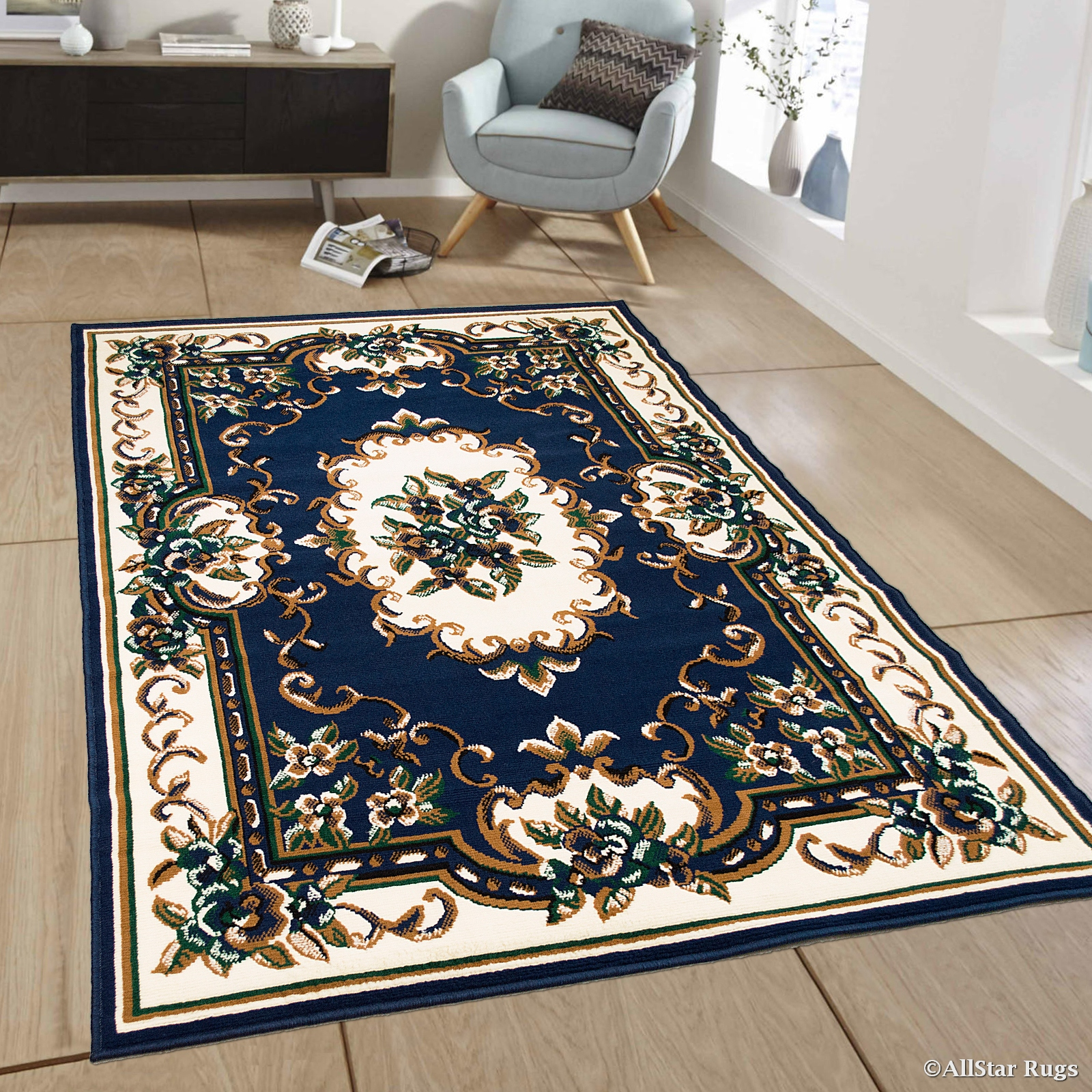 Allstar Blue Woven High Quality Rug Traditional Persian