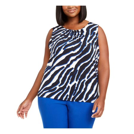 CALVIN KLEIN Womens Blue Animal Print Sleeveless Jewel Neck Top Size 2X