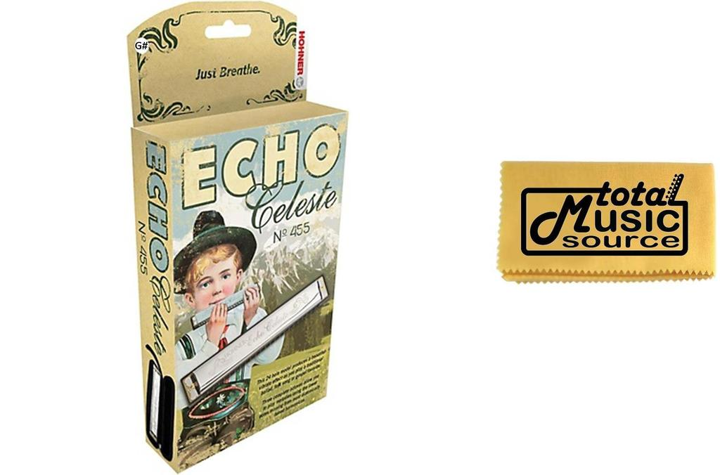 Hohner 455 Echo Celeste Tremolo Tuned Harmonica Key G#, Includes Case & TMS Polishing... by Hohner